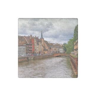 Saint-Nicolas dock in Strasbourg, France Stone Magnet