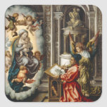 Saint Painting Madonna And Jesus Square Sticker