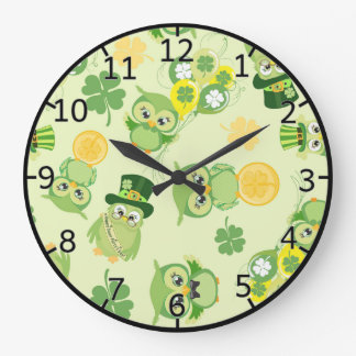 Saint Partrick's Day Shamrocks Large Clock