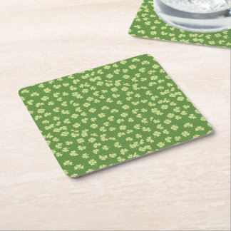 Saint Partrick's Day Shamrocks Square Paper Coaster