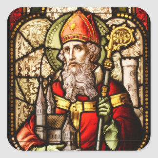 Saint Patrick Image on Stained Glass Square Sticker