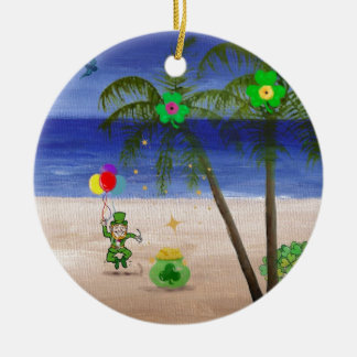 Saint Patrick s Day at the Beach jpg Christmas Tree Ornaments