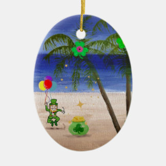 Saint Patrick s Day at the Beach jpg Christmas Tree Ornament