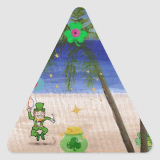 Saint Patrick s Day at the Beach jpg Triangle Sticker
