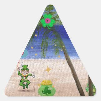Saint Patrick s Day at the Beach jpg Triangle Sticker