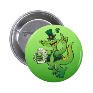 Saint Patrick s Day Crocodile Drinking Beer Buttons