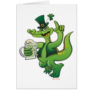 Saint Patrick s Day Crocodile Drinking Beer Card