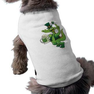 Saint Patrick s Day Crocodile Drinking Beer Dog Tee