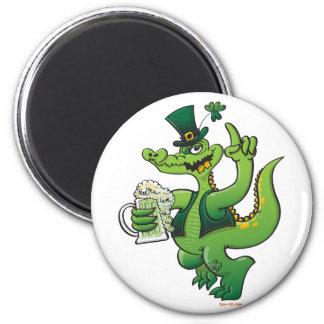 Saint Patrick s Day Crocodile Drinking Beer Refrigerator Magnet