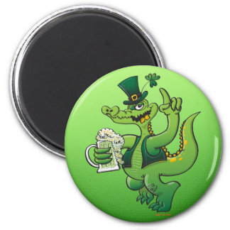 Saint Patrick s Day Crocodile Drinking Beer Magnets