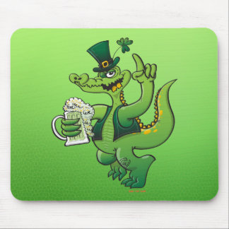 Saint Patrick s Day Crocodile Drinking Beer Mouse Pad
