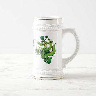 Saint Patrick s Day Crocodile Drinking Beer Coffee Mug