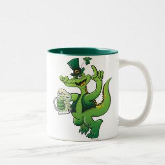 Saint Patrick s Day Crocodile Drinking Beer Coffee Mugs