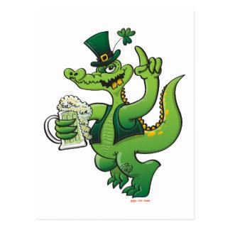 Saint Patrick s Day Crocodile Drinking Beer Postcards