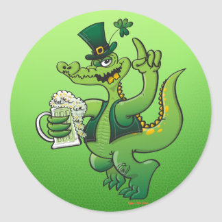 Saint Patrick s Day Crocodile Drinking Beer Round Stickers