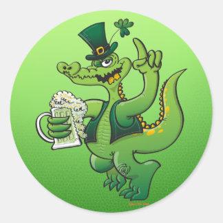 Saint Patrick s Day Crocodile Drinking Beer Round Stickers