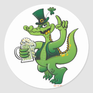 Saint Patrick s Day Crocodile Drinking Beer Sticker