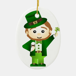 Saint Patrick' S Day Double-Sided Oval Ceramic Christmas Ornament