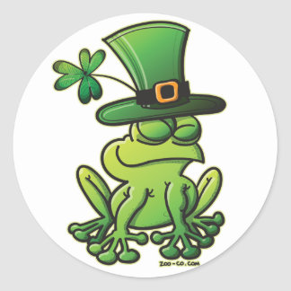 Saint Patrick s Day Frog Round Stickers