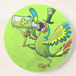 Saint Patrick s Day Macaw Coaster
