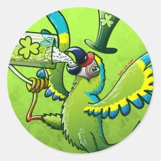 Saint Patrick s Day Macaw Round Sticker
