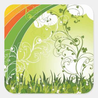 Saint Patrick s Day Shamrock Lucky Clovers Leaves Square Sticker