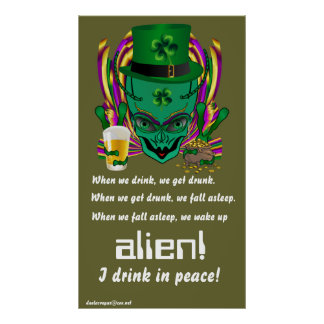 Saint Patrick s I drink in peace day 34 X60 Poster