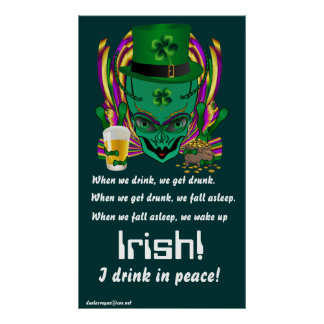 Saint Patrick s I drink in peace day 34 X60 Print
