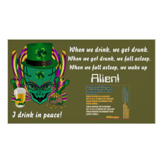 Saint Patrick s I drink in peace day 60 X34 Poster