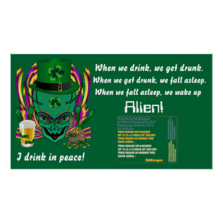 Saint Patrick s I drink in peace day 60 X34 Print