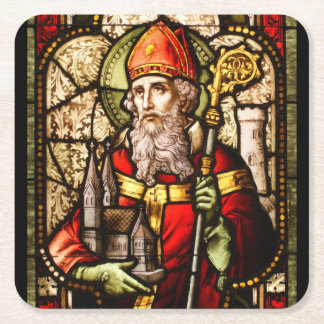 Saint Patrick Stained Glass Square Paper Coaster