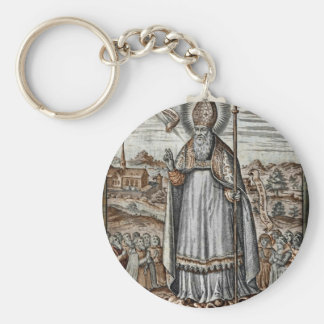 Saint Patrick with Snakes at His Feet Key Ring