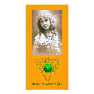 SAINT PATRICK'S CELTIC HEART,shamrock, orange Picture Card