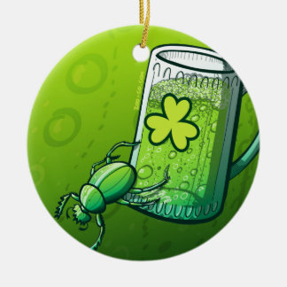 Saint Patrick's Day Beetle Round Ceramic Decoration