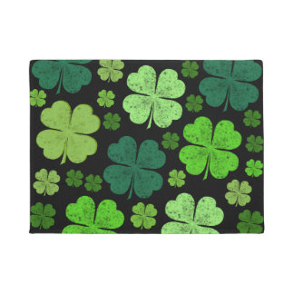 Saint Patrick's Day, Clovers - Green Black Doormat