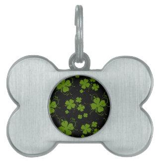 Saint Patrick's Day, Clovers, Swirls - Black Green Pet Name Tag