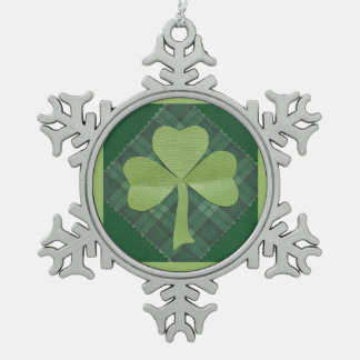 Saint Patrick's Day collage # 2 Snowflake Pewter Christmas Ornament