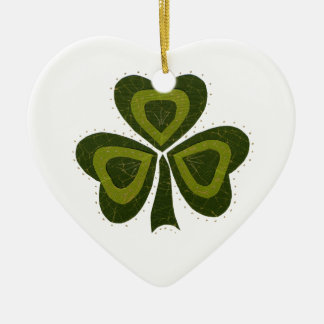 Saint Patrick's Day collage series # 10 Ceramic Heart Decoration