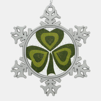 Saint Patrick's Day collage series # 10 Pewter Snowflake Decoration