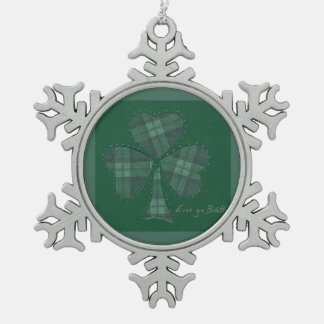 Saint Patrick's Day collage series # 12 Snowflake Pewter Christmas Ornament