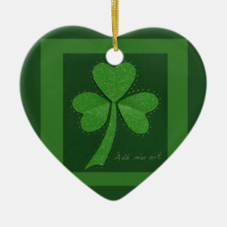 Saint Patrick's Day collage series # 13 Ceramic Heart Decoration