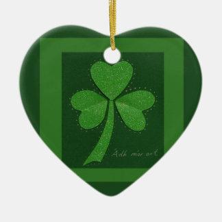 Saint Patrick's Day collage series # 13 Ceramic Heart Decoration