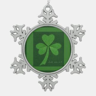 Saint Patrick's Day collage series # 13 Pewter Snowflake Decoration