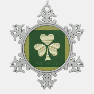 Saint Patrick's day collage series # 14 Snowflake Pewter Christmas Ornament