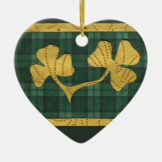 Saint Patrick's Day collage series # 19 Ceramic Heart Decoration