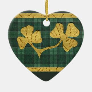 Saint Patrick's Day collage series # 19 Ceramic Heart Decoration