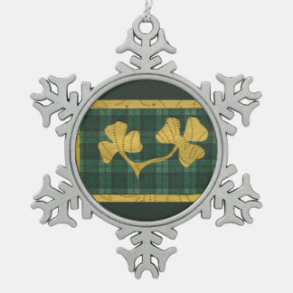Saint Patrick's Day collage series # 19 Snowflake Pewter Christmas Ornament