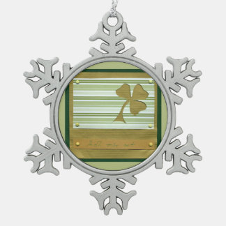Saint Patrick's Day collage series # 1 Snowflake Pewter Christmas Ornament