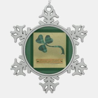 Saint Patrick's Day collage series #3 Pewter Snowflake Decoration