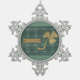 Saint Patrick's day collage series # 4 Snowflake Pewter Christmas Ornament